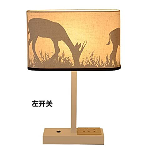 XHOPOS HOME Table Lamp Desk Lamp Bedside Lamp Usb Charging Bedroom Living Room Gift Ideas Lamp Black LED Yellow Button Switch