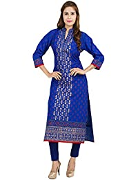 Zoeyams Women's Blue Cotton Block Prints Long Straight Kurti