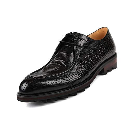 Herrenmode Leder Formale Schuhe, Business-Spitze Zehenschuhe, Britische Stil Uniform Kleider Schuhe, Hochzeitsschuhe, Casual Party,Black,43
