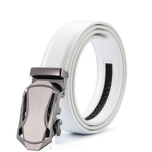 Mens Fashion Automatische Schnalle Leder Luxus MannSchwarz Weißen Gürtel, Legierung Schnalle Weißer Gürtel Für Männer, 6.125 Cm 6.125
