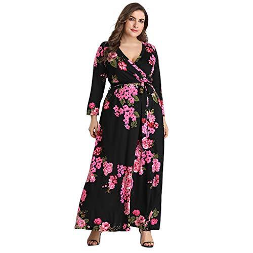 Bohemian Womens Beach Dress Große Taille Sommerkleid Elegantes Langarm Blumen Abendkleid (Billige Kostüm Gnade)