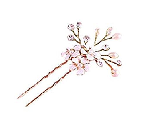 Fashion Jewery Damen Haarschmuck Accessoires Haarblumen Haargesteck Haarnadeln Perlen Hochzeit Strass Tiara Diadem Blumen Blüte in Gold Braut Haarschmuck Neuheit