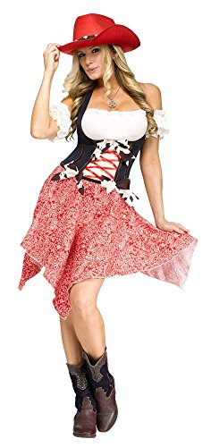 shoperama Square Dance Cowgirl Damen Kostüm Kleid Footloose Western Kuhmuster Rock Rodeo, ()