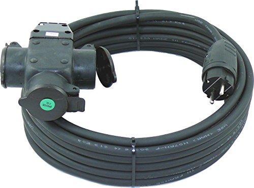 netbote24® Schuko-Verlängerungskabel mit 3-Fach Kupplung H07RN-F 3x2,5 mm² (IP44 - Außenbereich) AC 230V/16A 5-50m (5m)