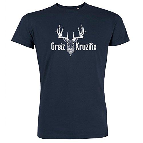DATSCHI Trachten T-Shirt Greiz Kruzifix - Bio Baumwolle - S-XXXL Trachtenshirt Oktoberfest Bayrisches-Shirt Wiesn Lederhosen Männer Herren Hirsch Österreich (L, Navy-Weiss)