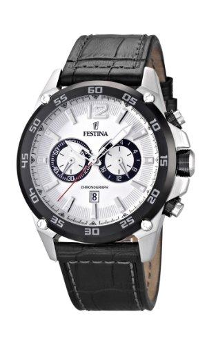 Festina Herren-Armbanduhr XL Chronograph Quarz Leder F16673/1