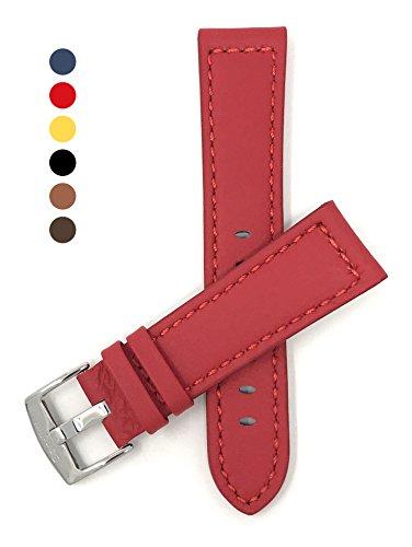 Leder Uhrenarmband 20mm für Herren, Rot, Stil racer, mit Naht, Schließe Edelstahl, auch verfügbar in schwarz, braun, gelb, hellbraun