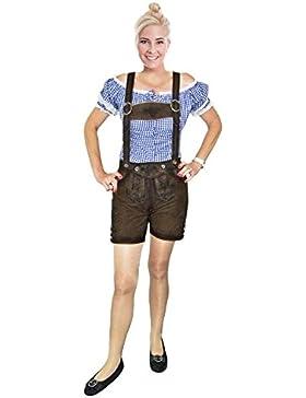 Kurze Damen Lederhose Eda mit Stegträgern - Hochwertige Damenlederhose in Antik Java washed für Oktoberfest und...