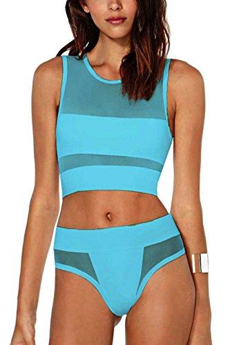 tengweng Damen Bikini-Set Blau