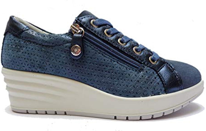 ENVAL SOFT Scarpe da Donna Linea Comoda in camoscio Blu Altezza Zeppa cm. 5, Num. 37 | Grande Vendita Di Liquidazione  | Uomo/Donna Scarpa