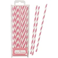 Talking Tables Paper Straws Biodegradable | Pink Straws | Striped Straws | Pink And White Straws | 30 Pack