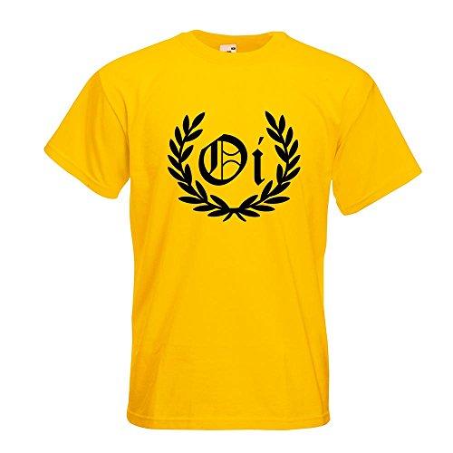KIWISTAR - OI! Lorbeerkranz Punk Hardcore T-Shirt in 15 verschiedenen Farben - Herren Funshirt bedruckt Design Sprüche Spruch Motive Oberteil Baumwolle Print Größe S M L XL XXL Gelb