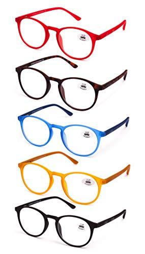 Gafas de Lectura Vista Cansada Presbicia, Graduadas Dioptrías +1.00 hasta +4.00, Gafas de Hombre y Mujer Unisex con Montura de Pasta, Bisagras de Resorte, Para Leer, Ver de Cerca. Pack de 5.(+3.50)