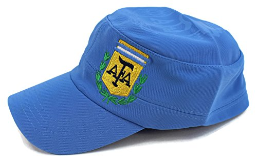 High End Hüte World Soccer/Fußball Team Military Hat Collection Bestickt Flexfit Cap Army Style, Argentina Blue -
