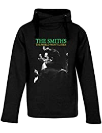 Top Fashion Quality Clothing Men's The Smiths The World Won't Listen Heavyweight Hooded Sweatshirt. Dark Grey/XL