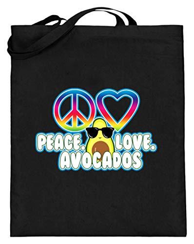SPIRITSHIRTSHOP Peace. Love. Avocados - Cooles Sonnebrillen Zeichen Design - Jutebeutel (mit langen Henkeln) -38cm-42cm-Schwarz -
