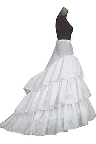 CLOCOLOR Damen 3 Schichten A-Line Hoops Krinoline Lange Petticoats Unterrock Underskirt Reifrock für Brautkleider Weiß