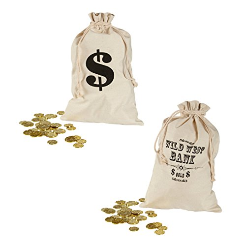 Amakando Geldsack mit Dollarzeichen Bankräuber Sack 30 x 48 cm Geld Stoffsack Räuber Geldbeutel Wild West Bank Beutel Leinensack Geldgeschenk