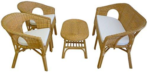 Sf savino filippo set completo salotto in vimini bambù rattan e giunco naturale divano poltrone tavolo kelek
