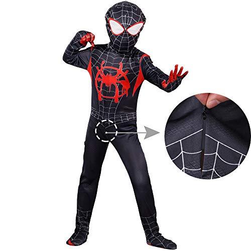 Spiderman Costume for Kids Superhelden Kostüme Kinder,Halloween Karneval Kostüm,Deluxe Kind Kostüm Jungen,Strampler Kleidung,Kopfbedeckung,6-14 Jahre,S110-120