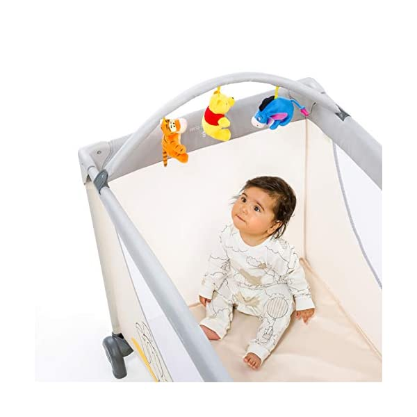 Hauck Dream N Play Go, 5-Part Travel Cot from Birth to 15 kg, 120 x 60 cm, Folding Travel Bed with Folding Mattress, Carry Bag, Play Arch and Toy Bag, Tilt-Resistant, Pooh Cuddles Disney Suitable from birth Includes fold up mattress (60 x 120cm) Folds away into its own carry bag 13