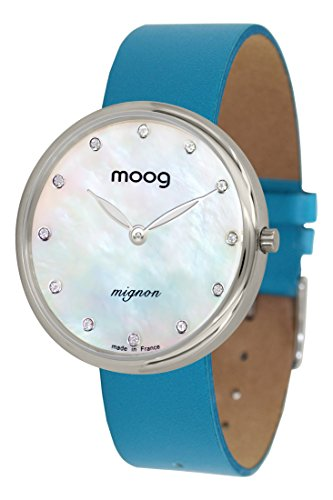 Moog Paris Mignon Women's Watch with White Mother of Pearl Dial, Blue Genuine Leather Strap & Swarovski Elements - M41681-A11