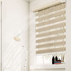 Chicology Free Stop Cordless Zebra Dual Layer Fabric Sheer & Privacy Roller Shade, West Ecru, 23 x 72