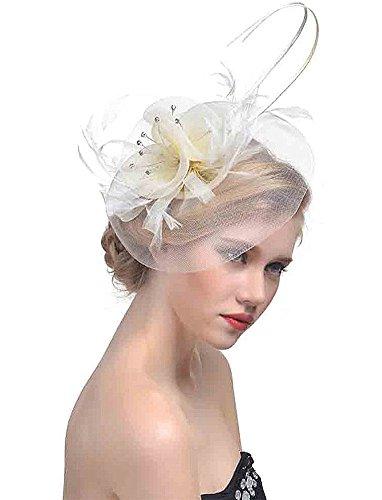ZYCC Hochzeit Fascinator Haarclip Gaze Blume Feder Braut Hut Formal Party Kirche (Nicht-gerade - Hüte Braut Mutter Der