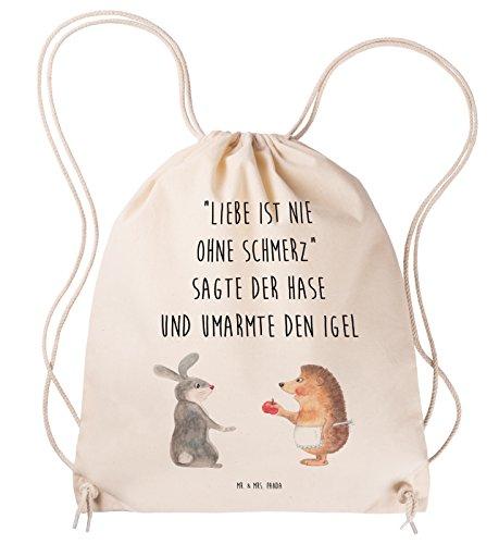Liebe Hipster (Mr. & Mrs. Panda Tragetasche, Hipster, Sportbeutel Liebe ist nie ohne Schmerz mit Spruch - Farbe Transparent)