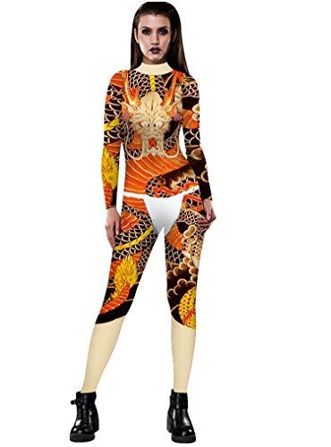 URVIP Skelett Overall Damen Knochen Skeleton Halloween Kostüm Bodysuit Anzug Karneval Fasching BAX-038 S