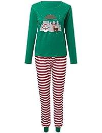 Zolimx Stripe Santa Tops Blusen-Hosen Weihnachten Familien-Pyjamas Nachtwäsche Weihnachts-Set