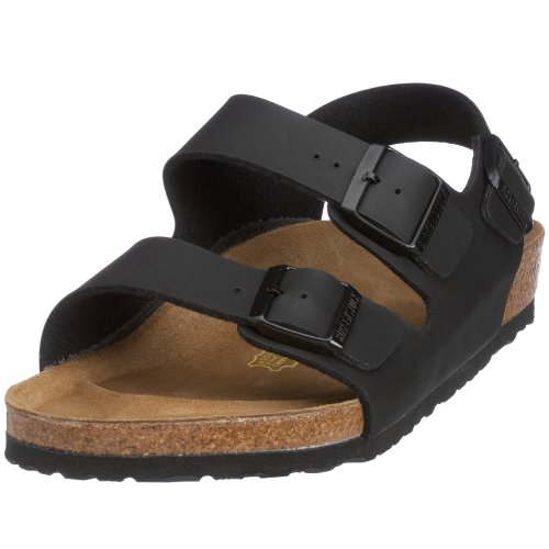 Birkenstock Milano - Sandali unisex - adulto, Nero (Black Leather upper), 44 (Stretta)