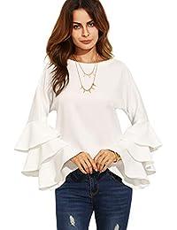 f474dad6181d DIDK Damen Bluse Pullover Tops Langarm T-Shirt Langarmshirts Oberteil  Casual Rundhals mit Rüschen