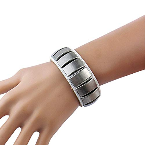 Qiming-ACS Punk Rock Manschette Armband Seil Leder Silber Stud Armband 80er Jahre Gothic Punk Glam Lederarmband für Männer, Frauen (Farbe : Weiß)