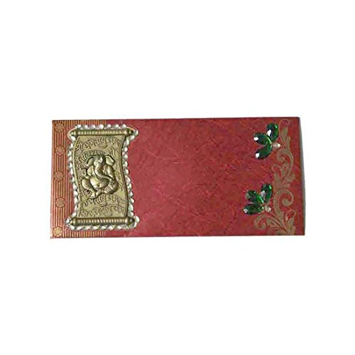 Indian Handicrafts Export Designer Red Envelope - Clay Ganesha - Indian Red Clay