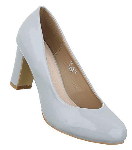 Damen Pumps Schuhe Elegant High Heels Bequeme Hellgrau 40 61ZDFwErO