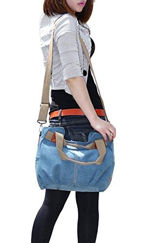 PB-SOAR Damen Vintage Canvas Handtasche Schultertasche Umhängetasche Henkeltasche 30 x 25 x 14cm(B x H x T) (Khaki) Blau
