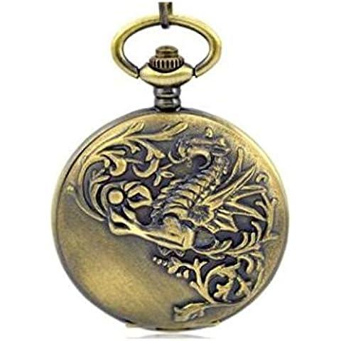 OUYANG Orologio da tasca quarzo vintage drago in rilievo - Drago Quarzo Orologio