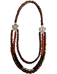 Contemporary Wooden Beads Necklace With Rudraksha & Oxidised Metal Beads - By MoonSayJB