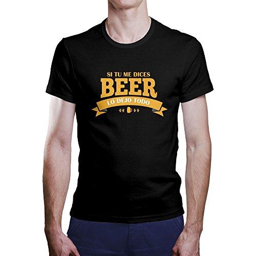 """OKAPY Camiseta Original de Hombre. Una Camiseta Negra con """"Si Tu Me Dices Beer Lo dejo Todo"""". Camiseta Friki de Calidad EThFCxMAA"""