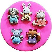 Jardín Buddies Perro Gato Conejo Ratón Fox molde de silicona para decoración de dulces para tartas