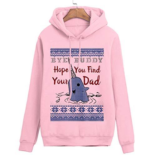 YUFAA Bye Buddy Hope You Find Your Dad Sweatshirt Lustiger hässlicher Weihnachtsstrickjacke für Damen Kordelzug (Color : Rosa, Size : M)