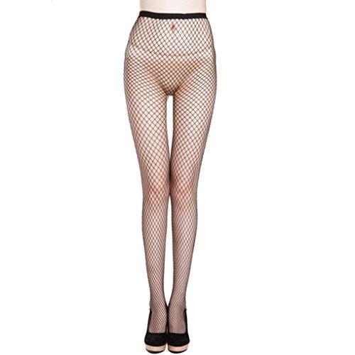 �sche FORH Frauen Sexy Spitze Netzstrumpfhose High Taille grobe Maschen Fischnetz Oberschenkel Strumpf elastische Strumpfhosen Socken (Schwarz) ()