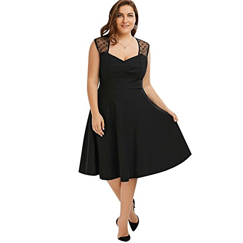 CharMma Damen Vintage Plus Size Ärmellos Polka Dot Mesh Kleid (5XL, Schwarz)