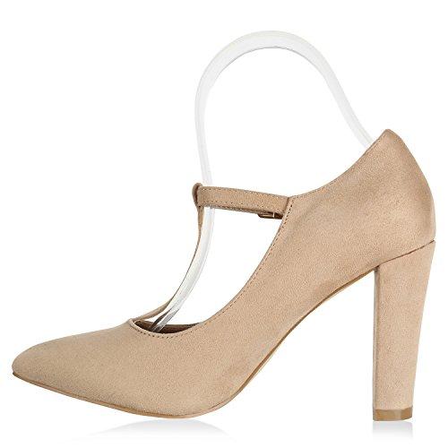 Stiefelparadies Damen Pumps Mary Janes High Heels Spangenpumps Leder-Optik Schuhe Karneval Fasching Kostüm Prinzessin Rock'n'Roll Cabaret Flandell Creme Arriate