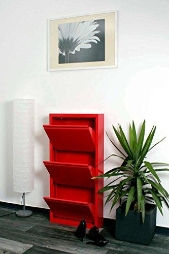 lifestyle4living Schuhkipper in Rot aus Metall hat 3 synchron öffnende Klappen, schmaler Schuhschrank ist 15 cm tief und bietet Platz für bis zu 9 Schuhe