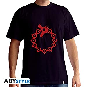 ABYstyle - Camiseta de Manga Corta para Hombre, diseño con Texto en inglés Emblems