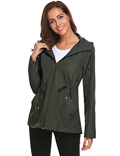 Women's Waterproof Rain Jacket Lightweight Raincoat Outdoor Windproof Jacket Hoodie Coats