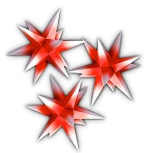 3er set beleuchtete sterne aus papier rot mit wei en. Black Bedroom Furniture Sets. Home Design Ideas
