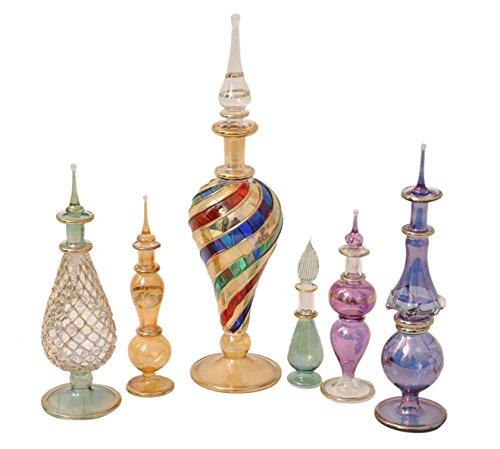 6 St. Chargenspezifische der ägyptischen Mund Pyrex Glas Flakons P-36 (Mundgeblasenes Parfüm-flaschen Glas)